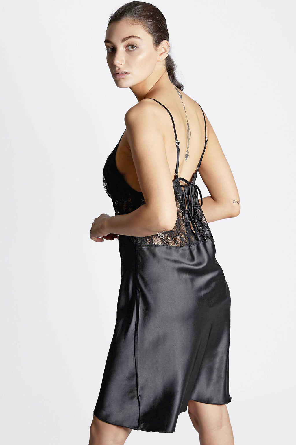 Black Satin Lace Slip Dress