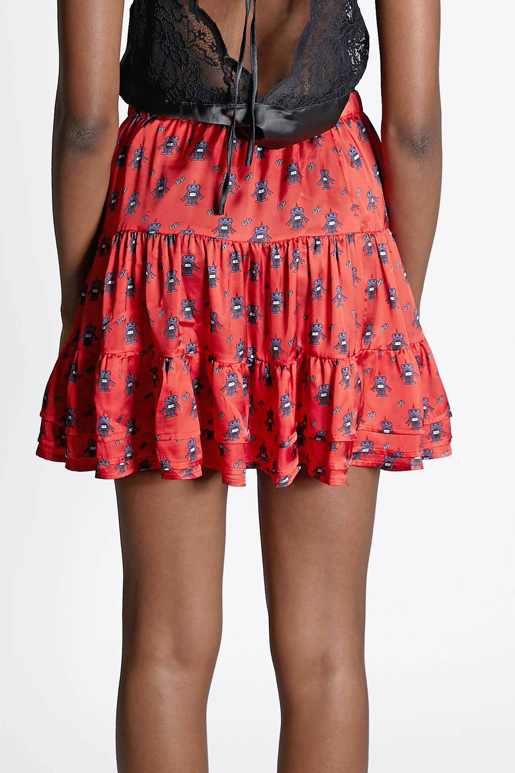 Red Robot Tiered Skirt