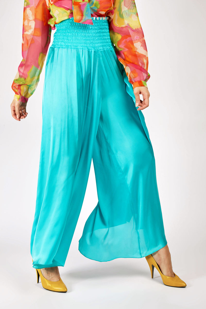 Ruched Waistband Wide Leg Trousers