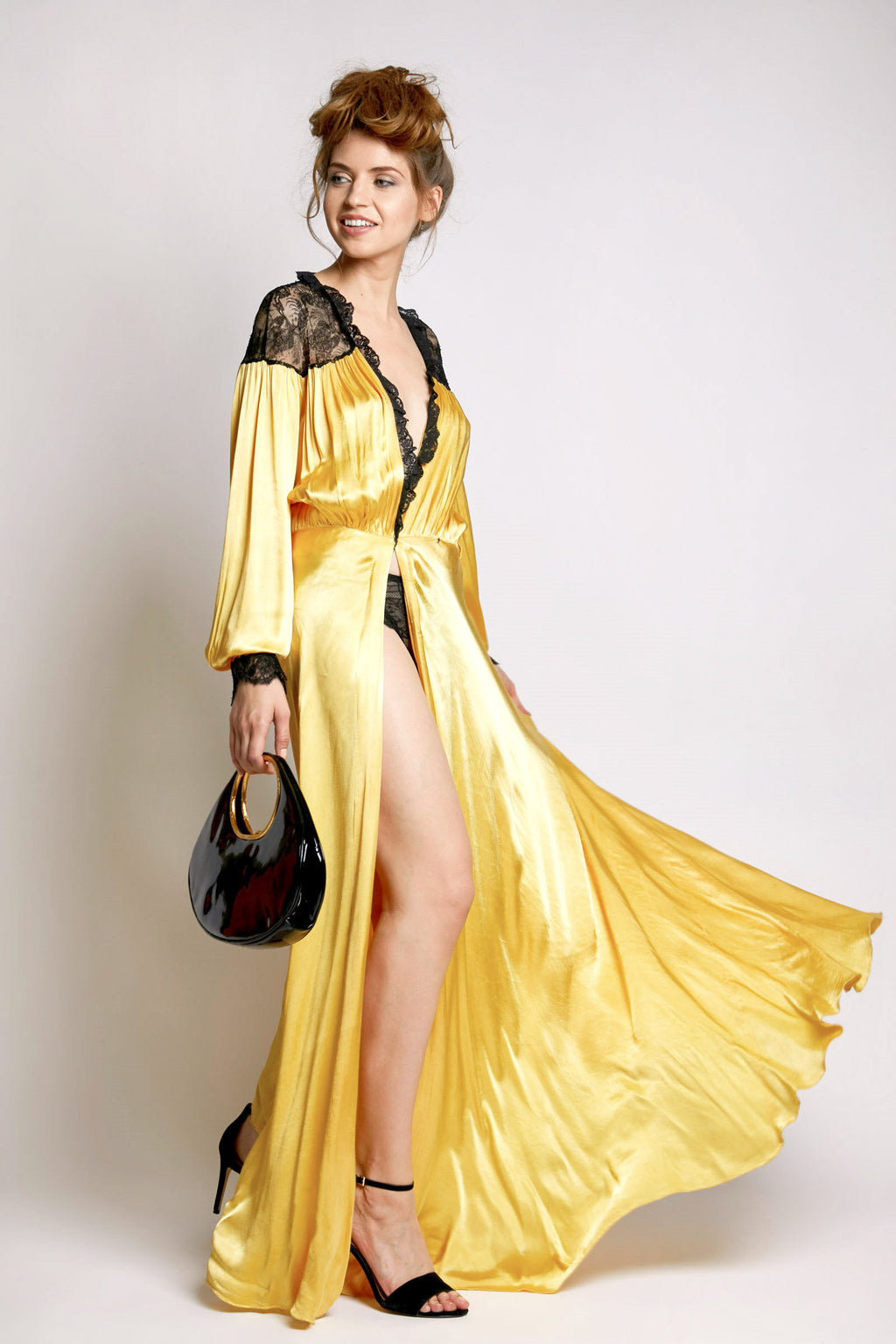 Vintage Yellow Silk Coat Dress with Lace Trim
