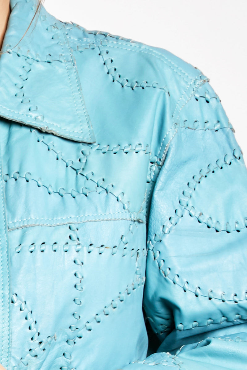 Vintage Blue Cross Stitch Leather Jacket