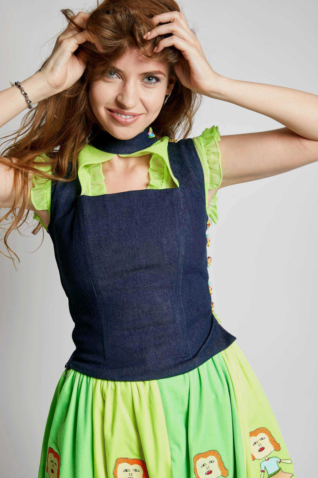 Ilona Rich Denim Choker Top
