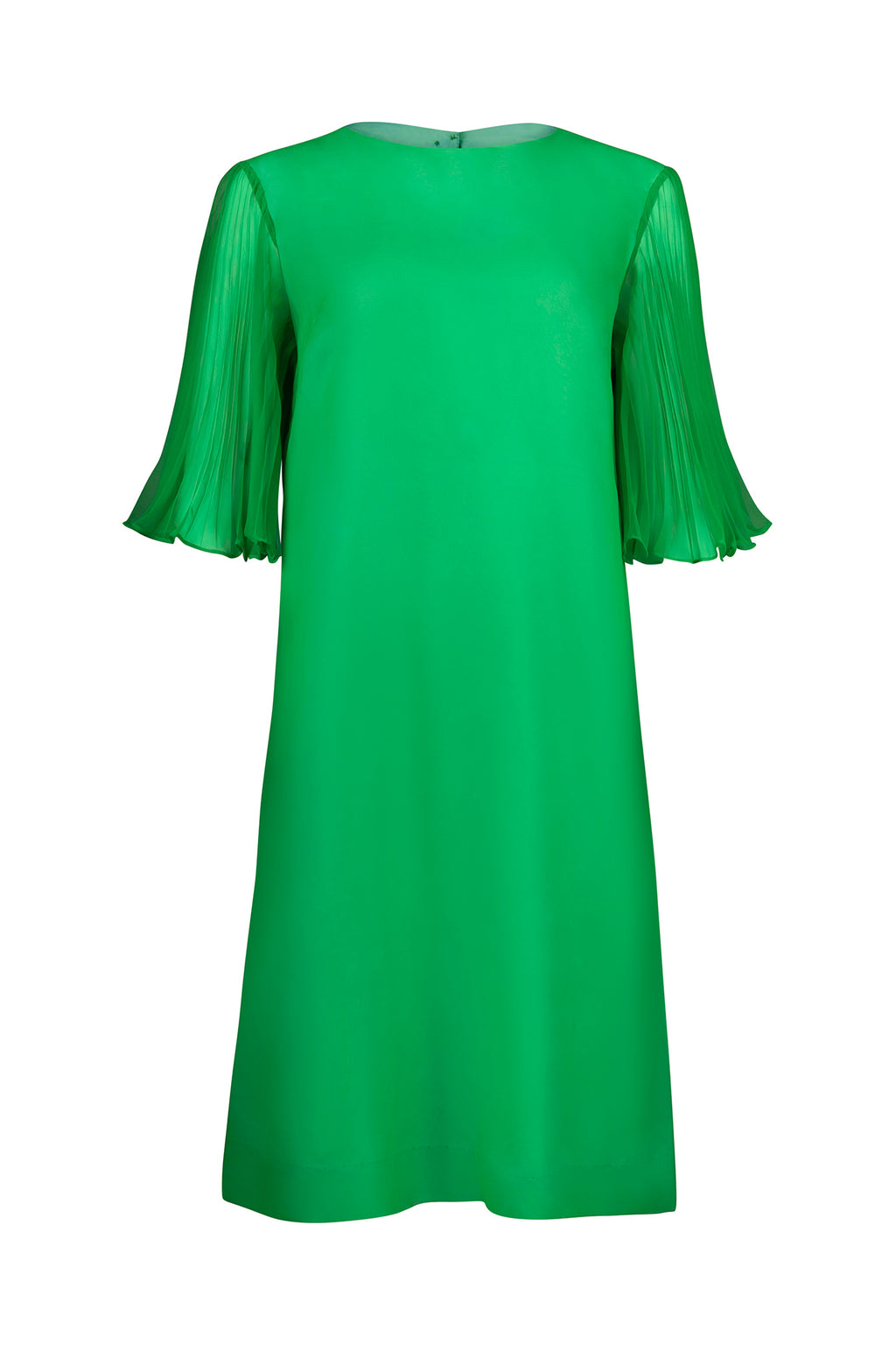Vintage Pleated Sleeve Emerald Green Dress