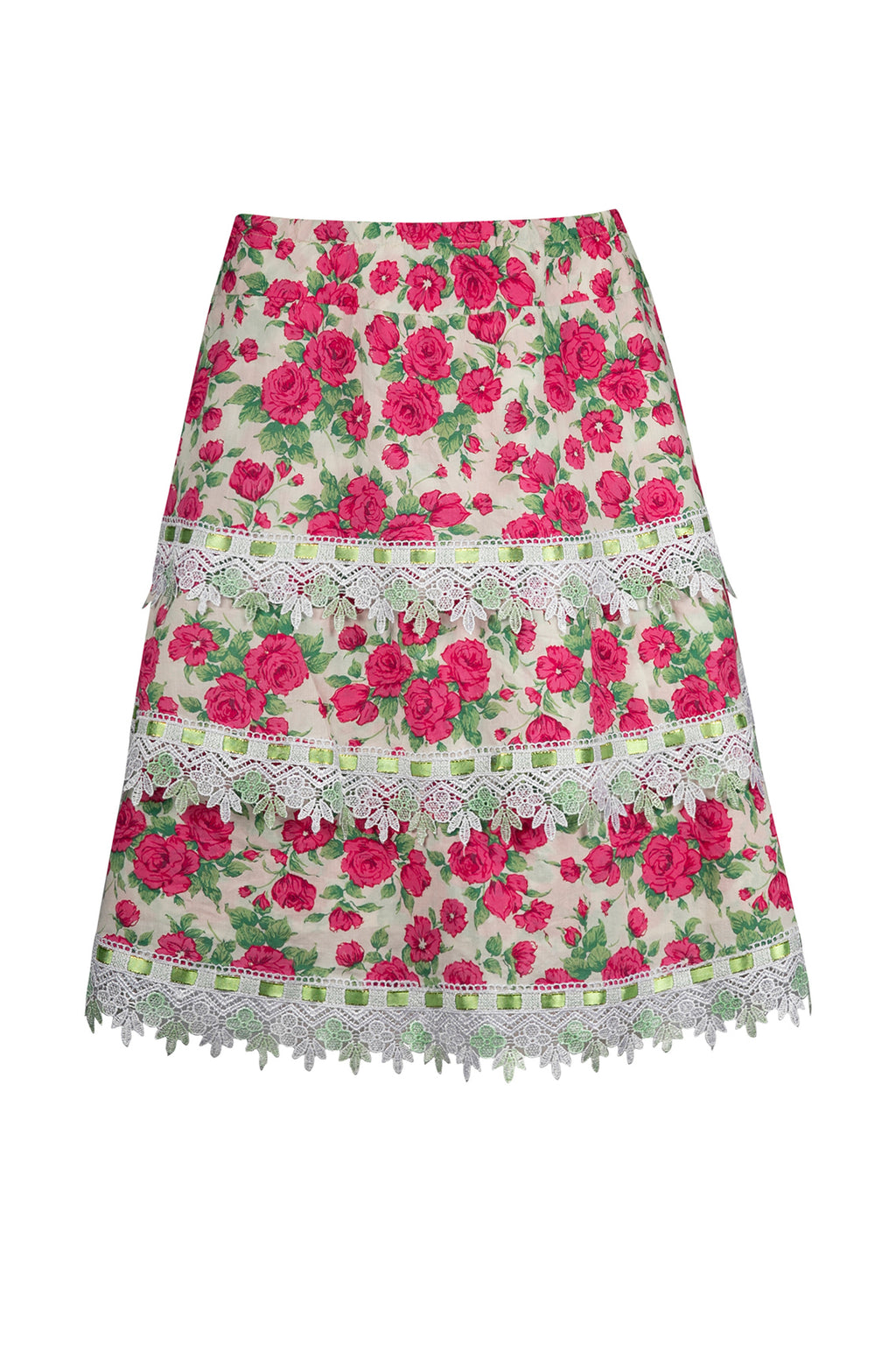 Vintage Rose Floral Tiered Skirt