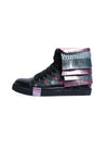 Kids Black Leather Trainers with Detachable Fringe