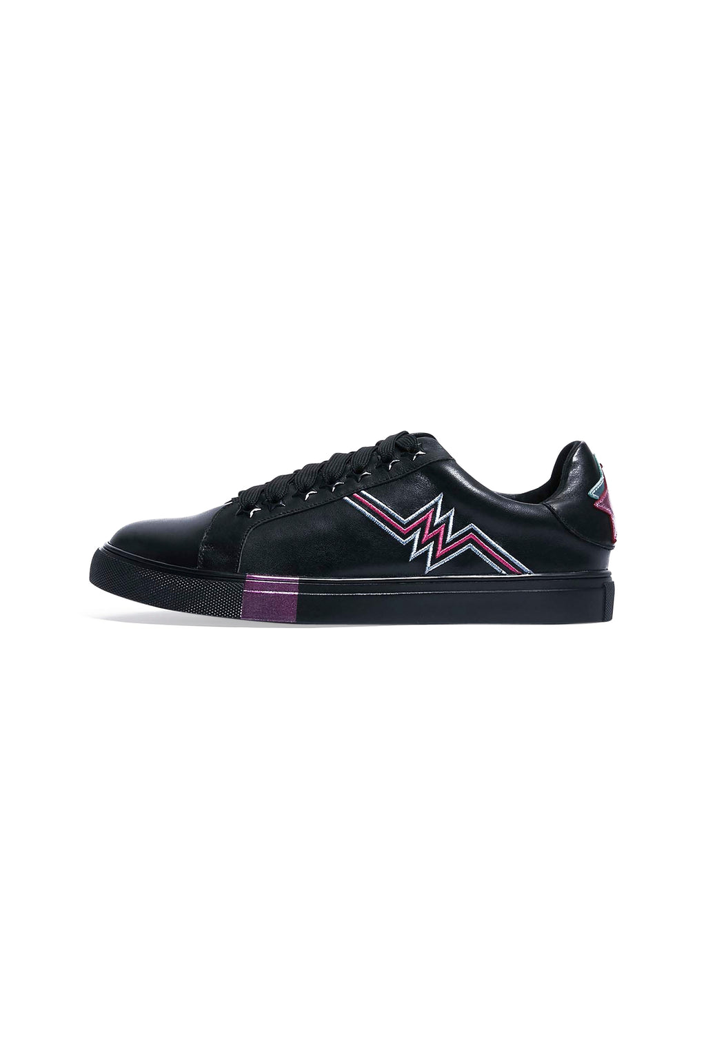 Black Leather Heartbeat Trainers