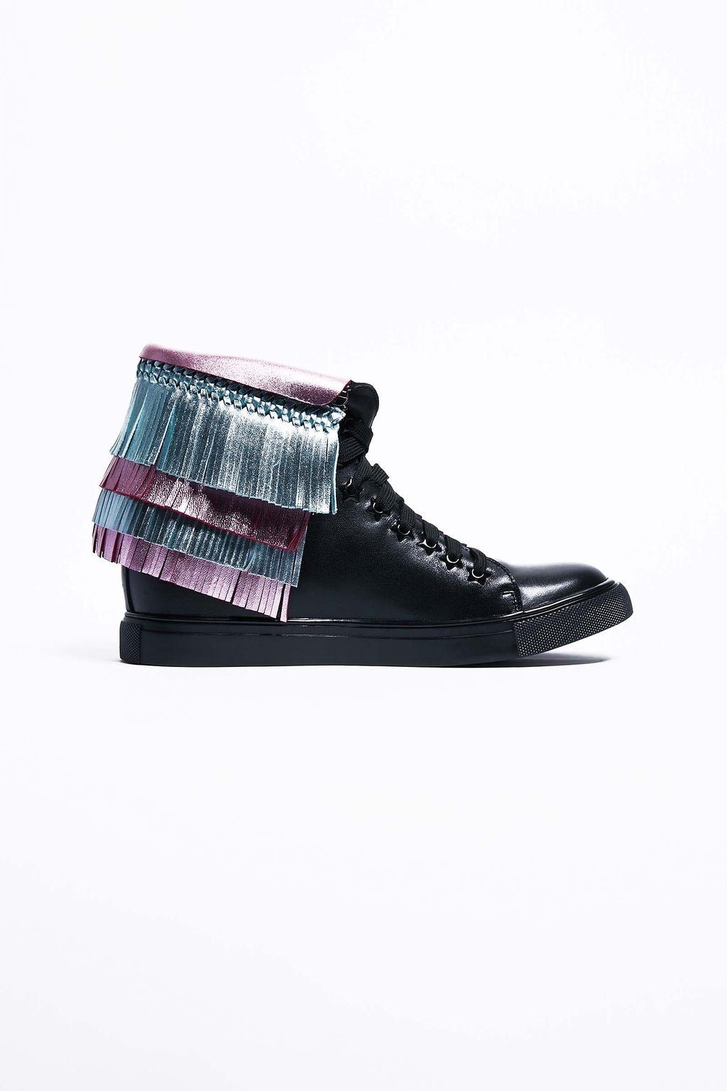 Black Leather Trainers with Detachable Fringe