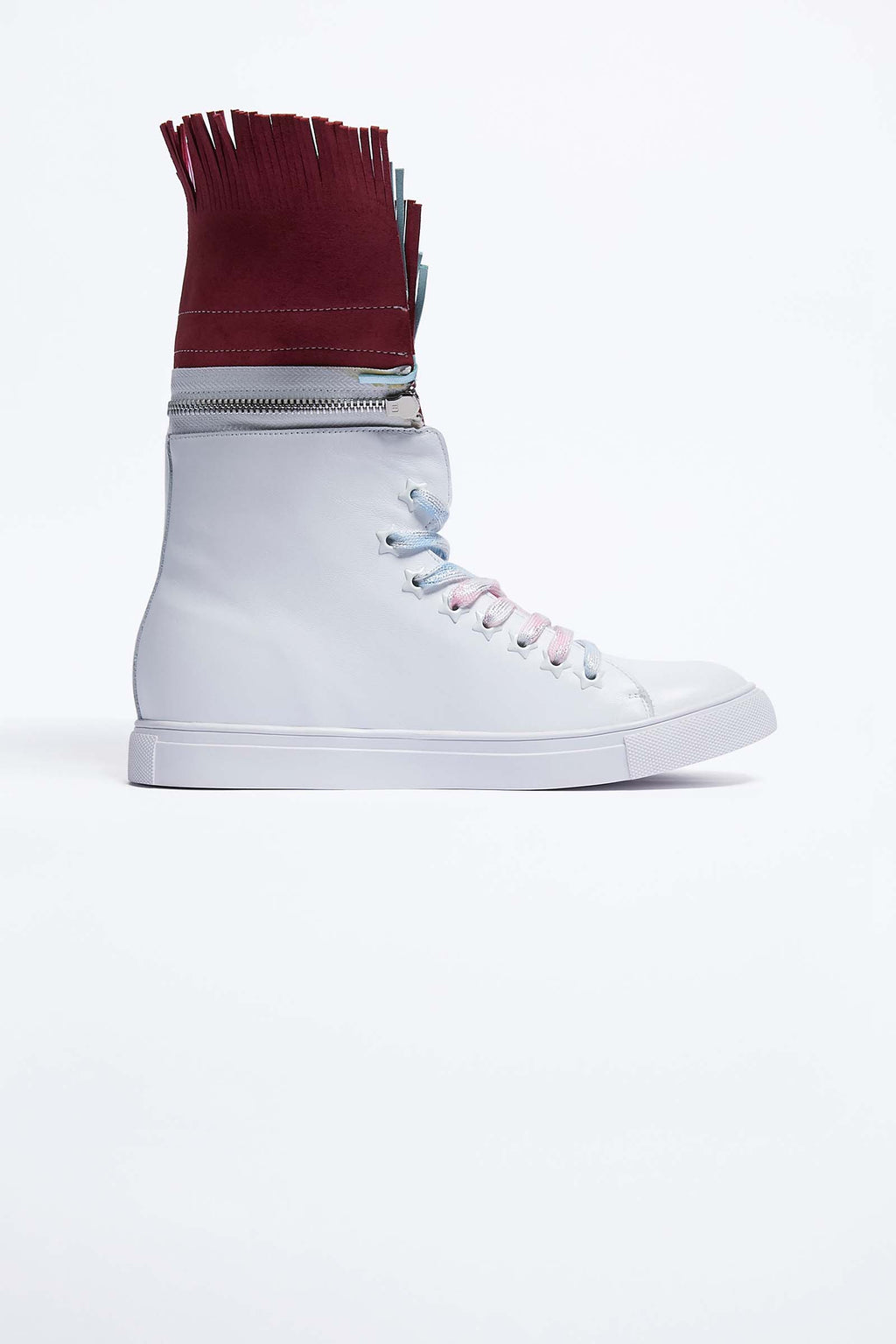 White Leather Trainers with Detachable Fringe