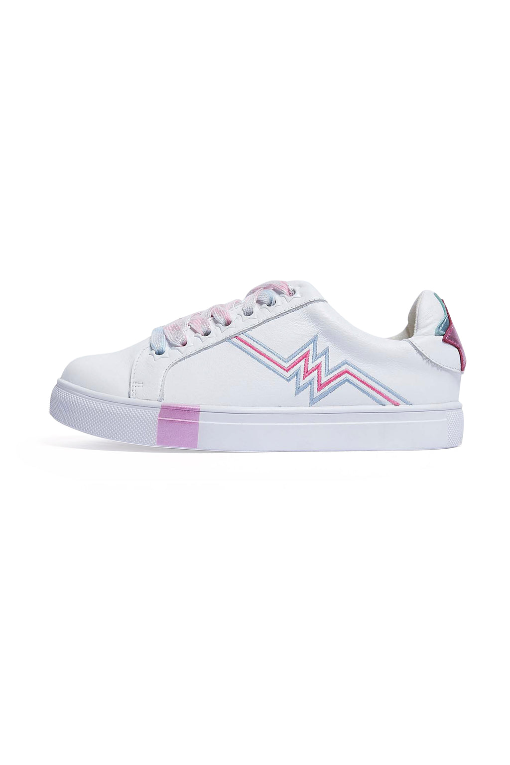 Kids White Leather Pink Heartbeats Trainers