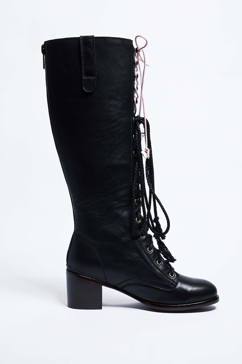 Black High Cherry Blossom Embroidered Leather Boots