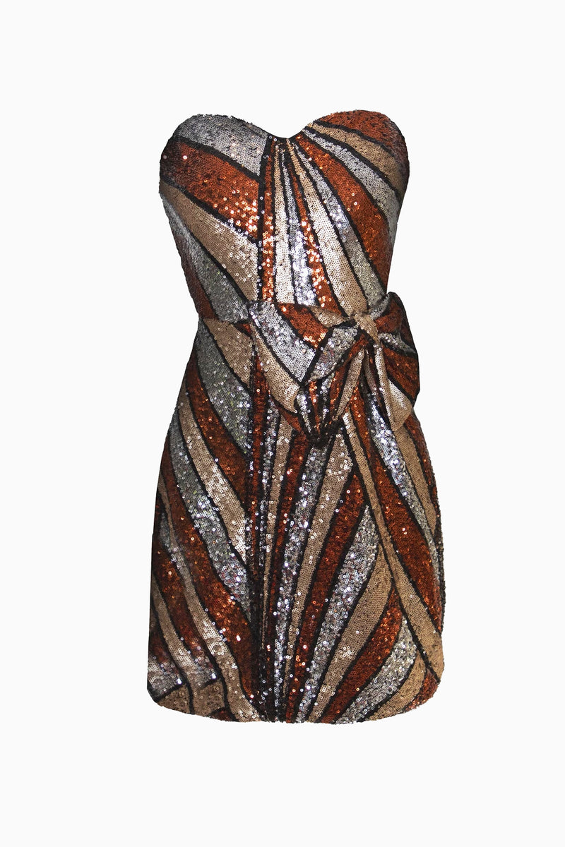 Bronze Strapless Sequin Bow Mini Dress