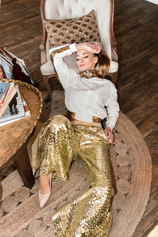 Ilona Rich Silver Half Sequin Wide Leg Trousers