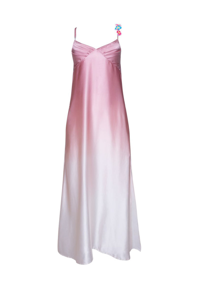 Silk Bead Maxi Dress Light Pink