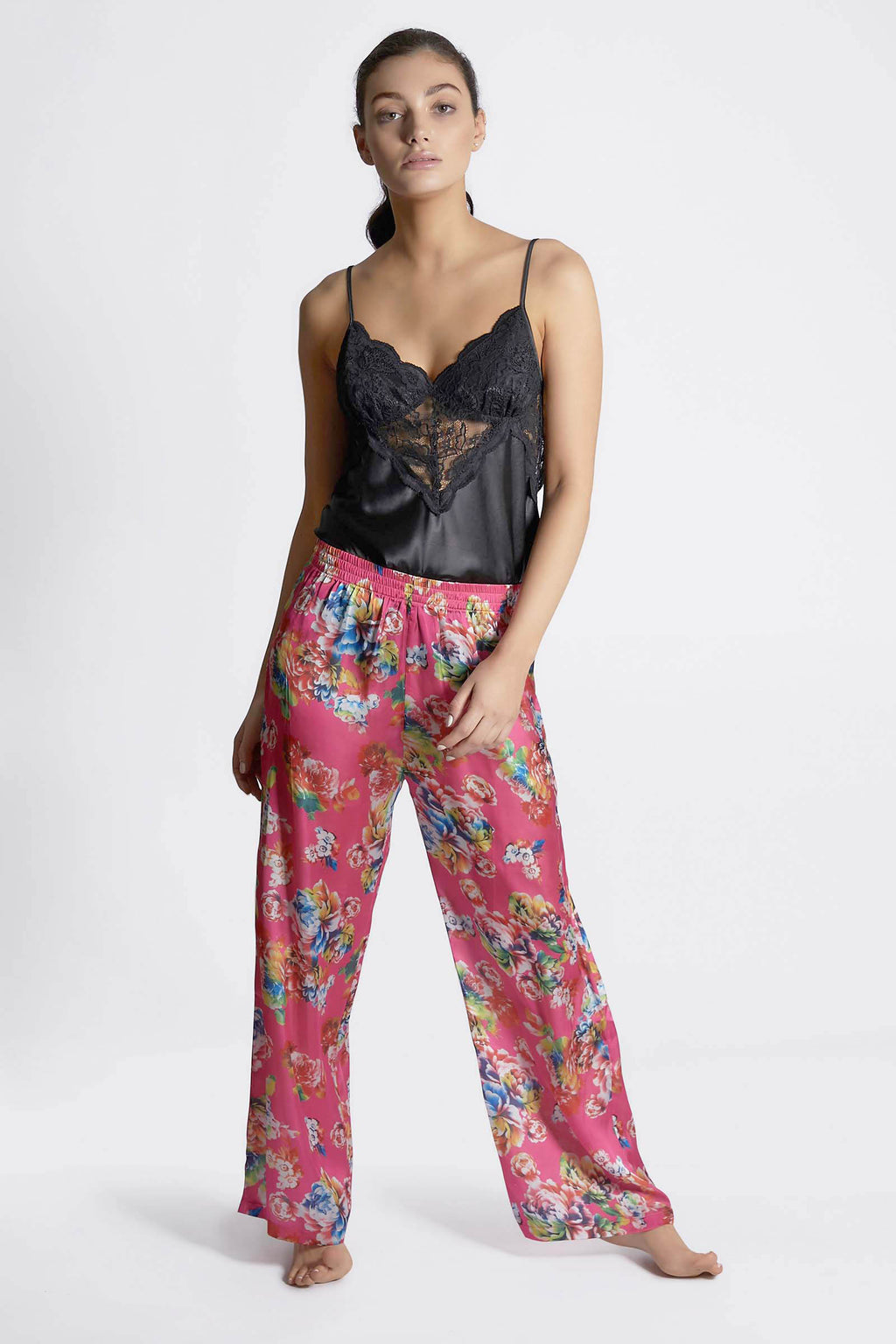 Pink Floral Satin Trousers