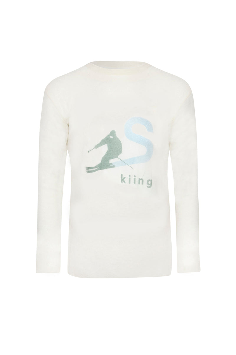 Cashmere Skiing Print Long Sleeve Jumper