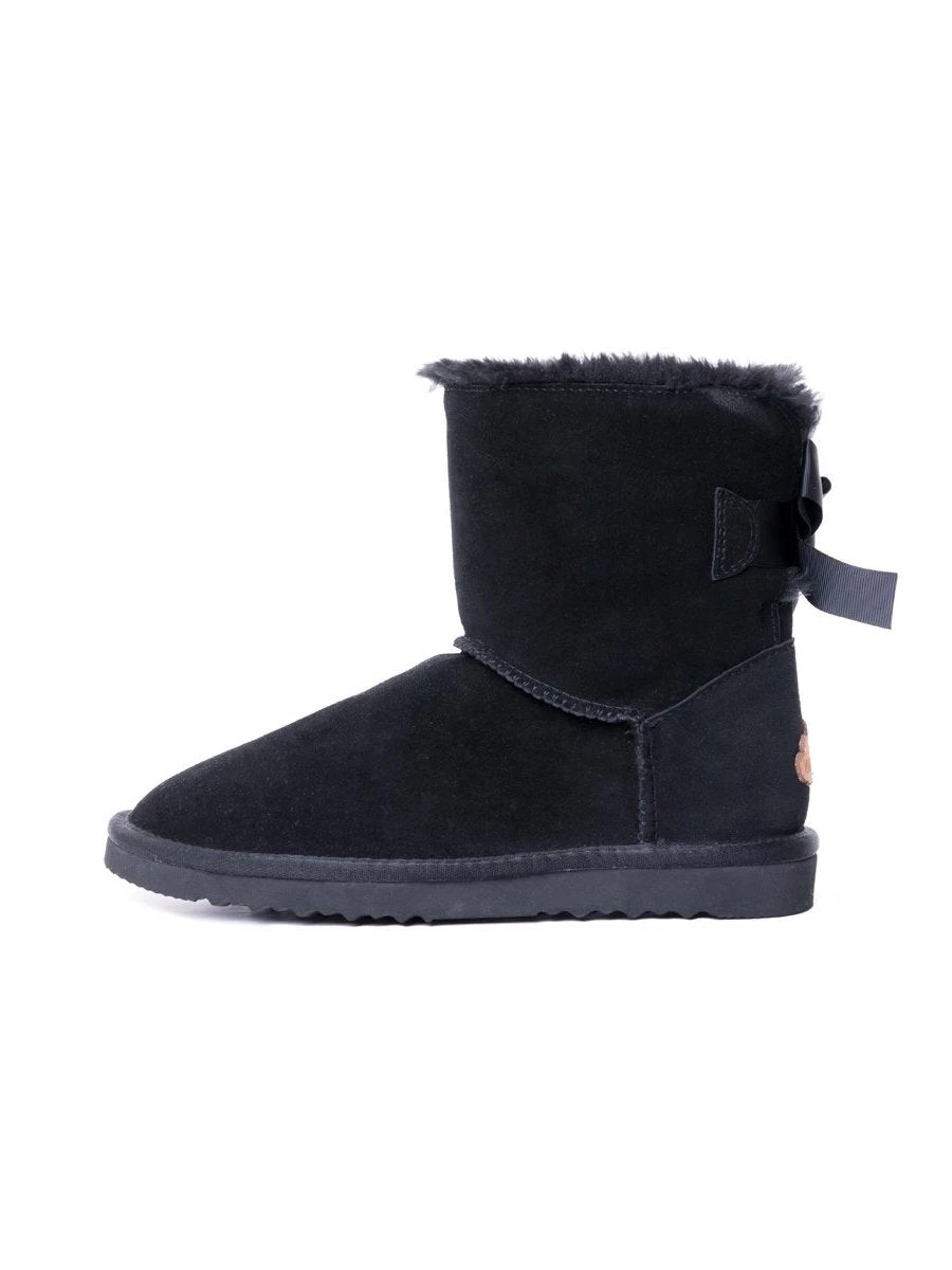 Black Bow Detail Sheepskin Winter Boots