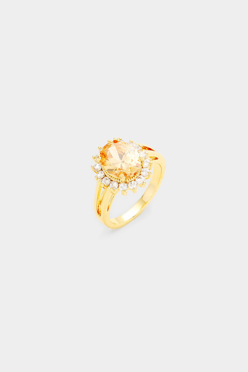 Gold Plated Oval Cubic Zirconia Ring