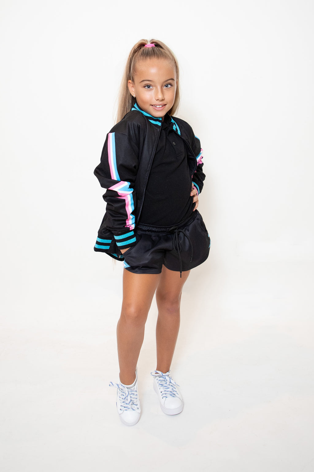 Kids Black Heartbeat Sports Shorts