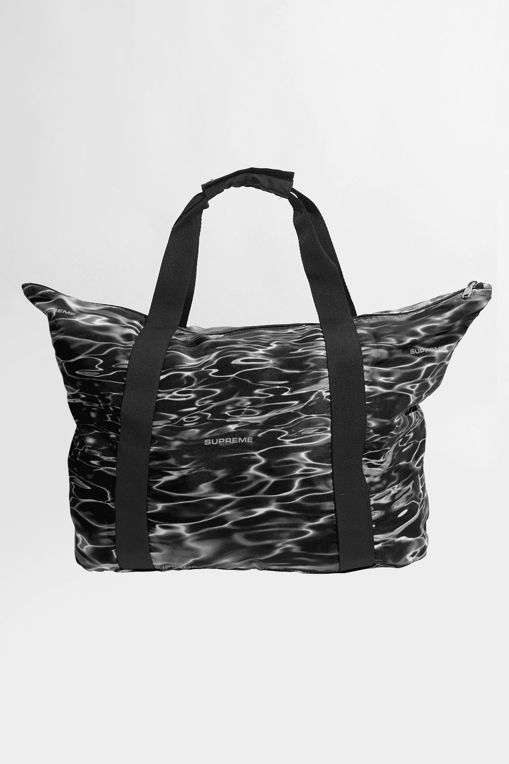 Supreme Black Box Logo Water Ripple Print Tote Bag