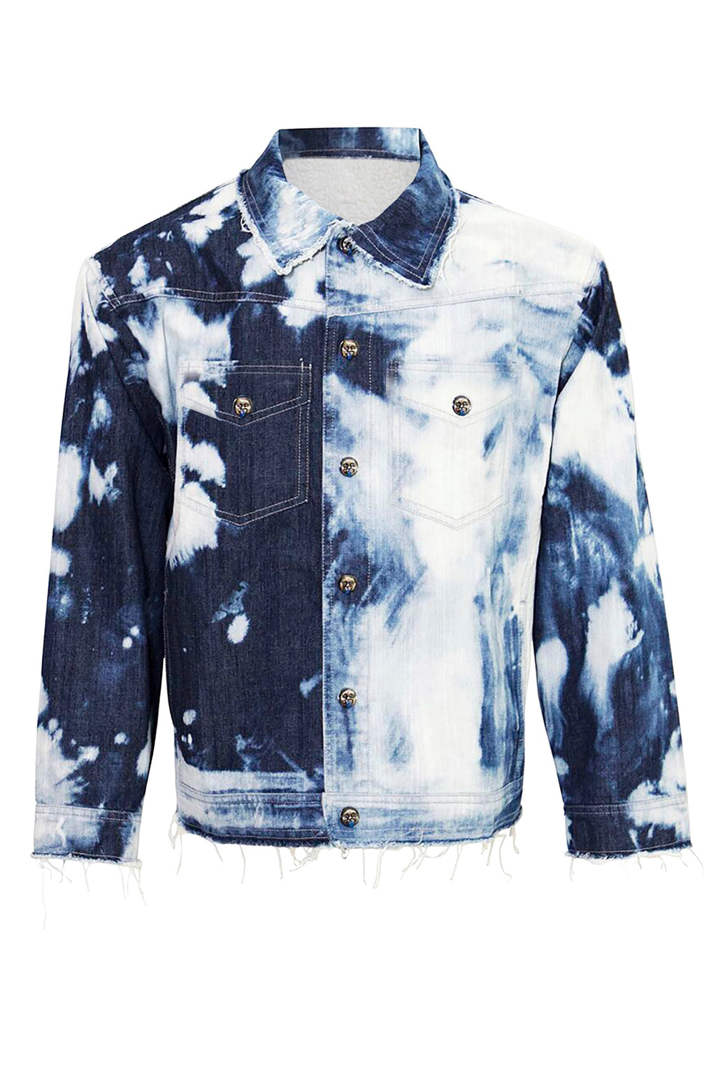 Unisex Tie Dye Denim Jacket with Faux Fur