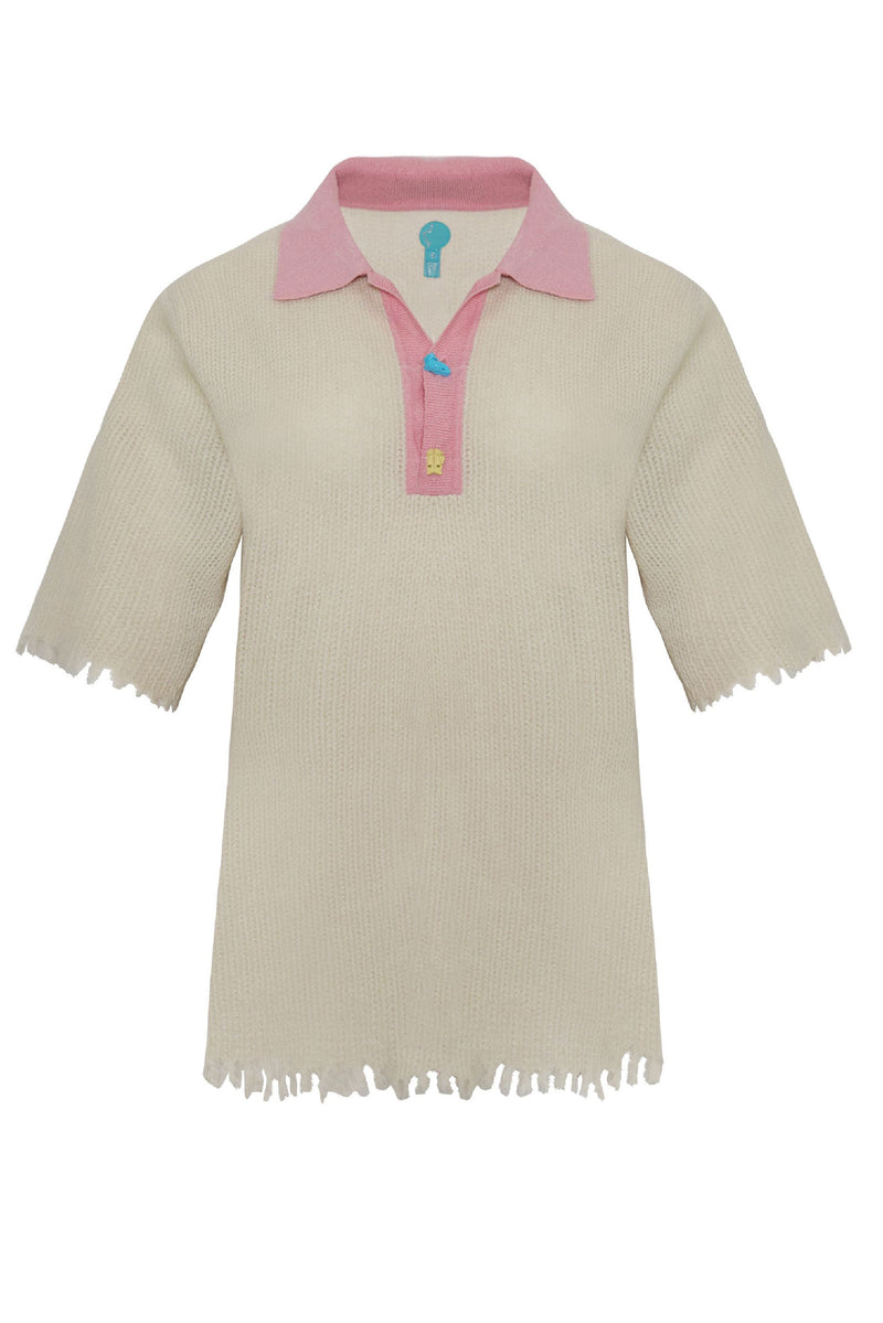 Adrian Waffle Cashmere Crying Face Polo Pink