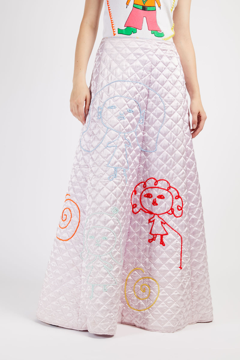 Pink Quilted Character Stitched Skirt