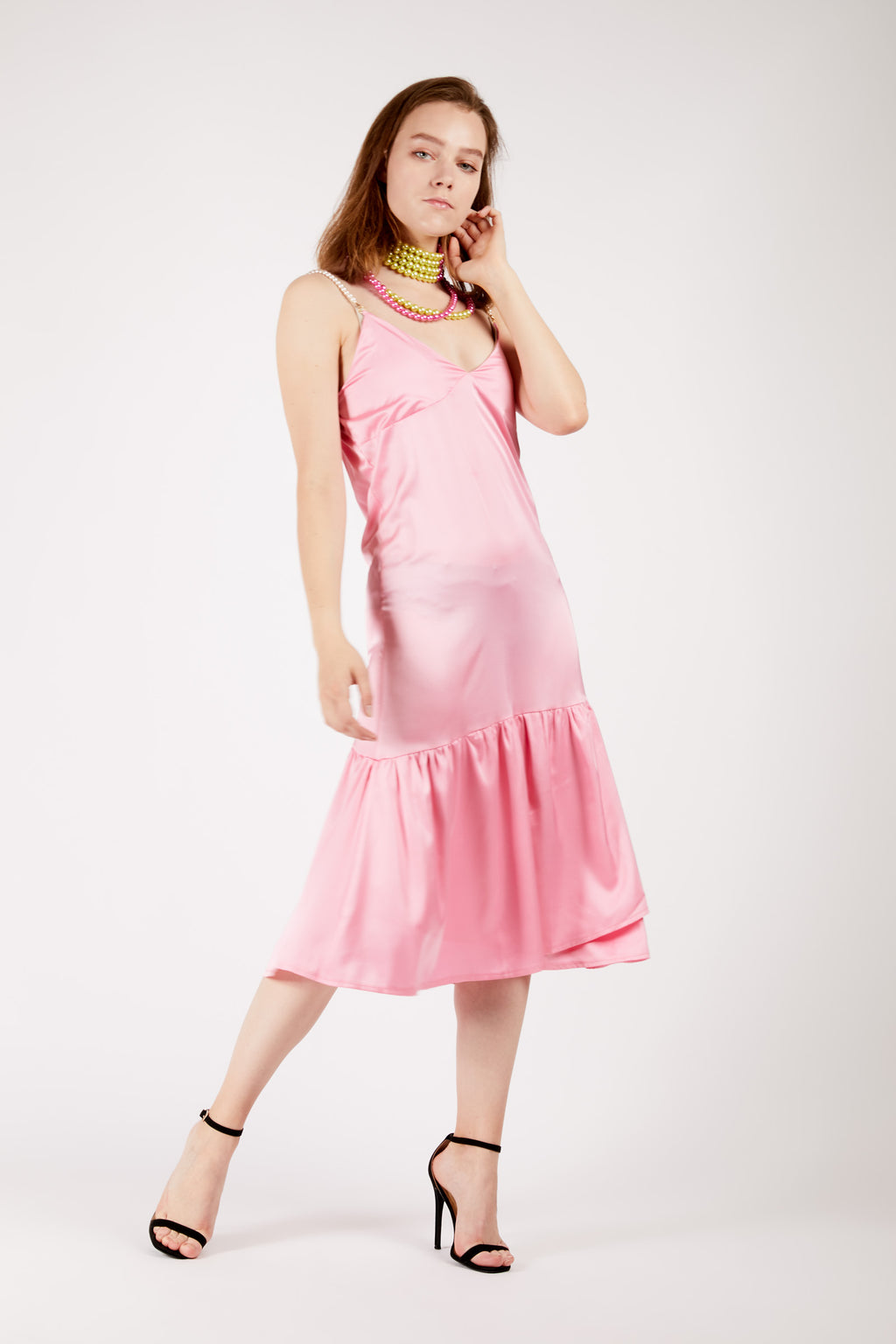 Satin Pink Slip Dress