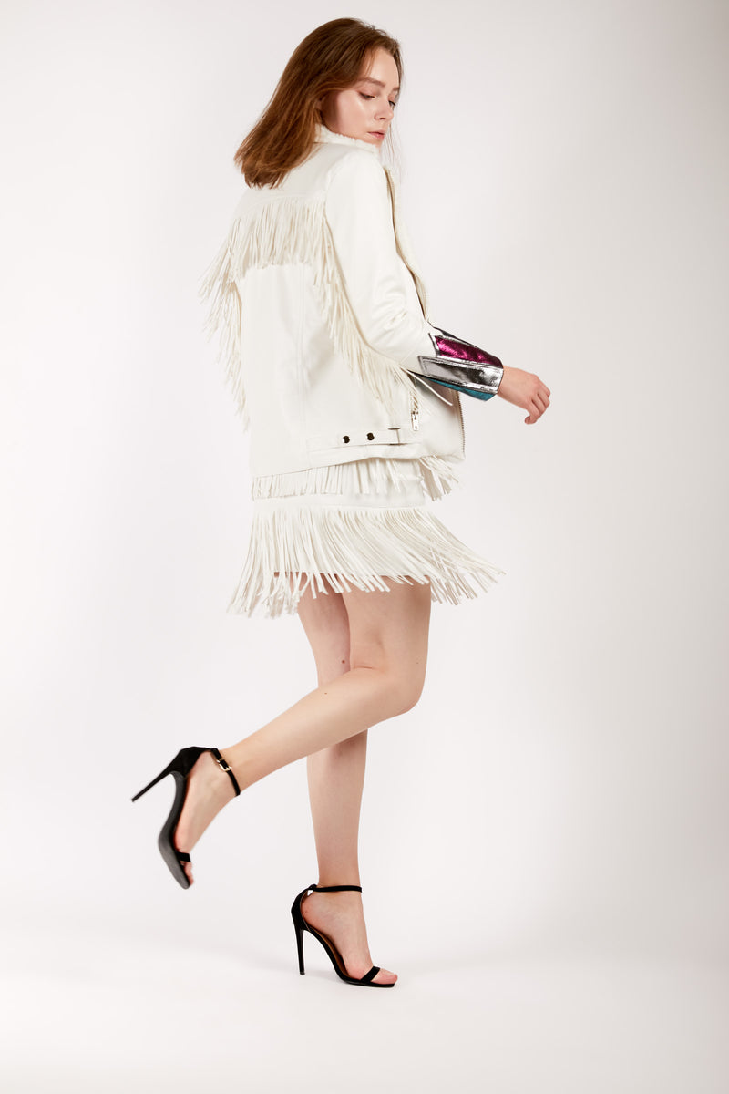 White Faux Leather and Fur Fringe Jacket