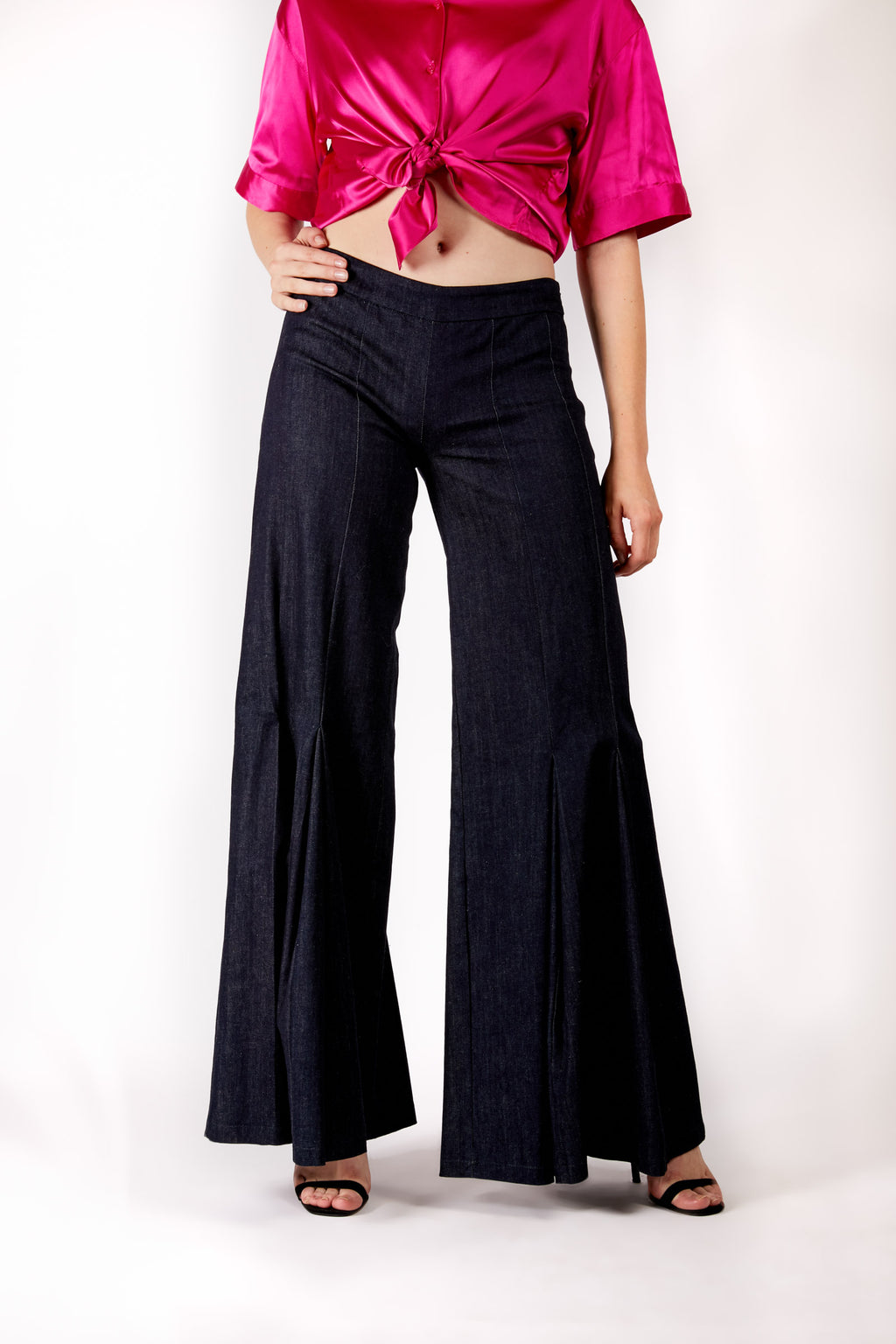 Flared Dark Denim Trousers