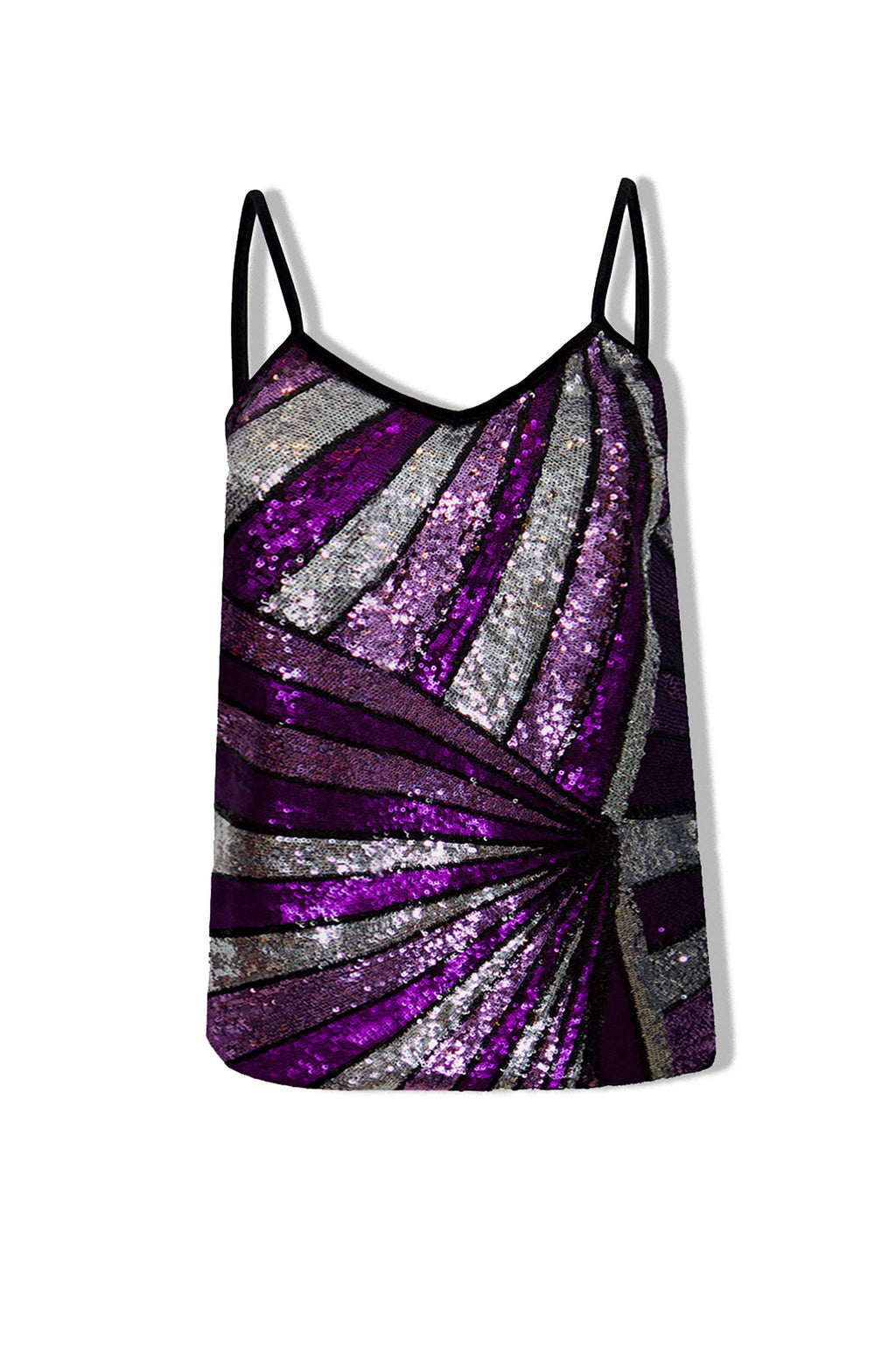 Ilona Rich Purple Geometric Sequin Cami Top
