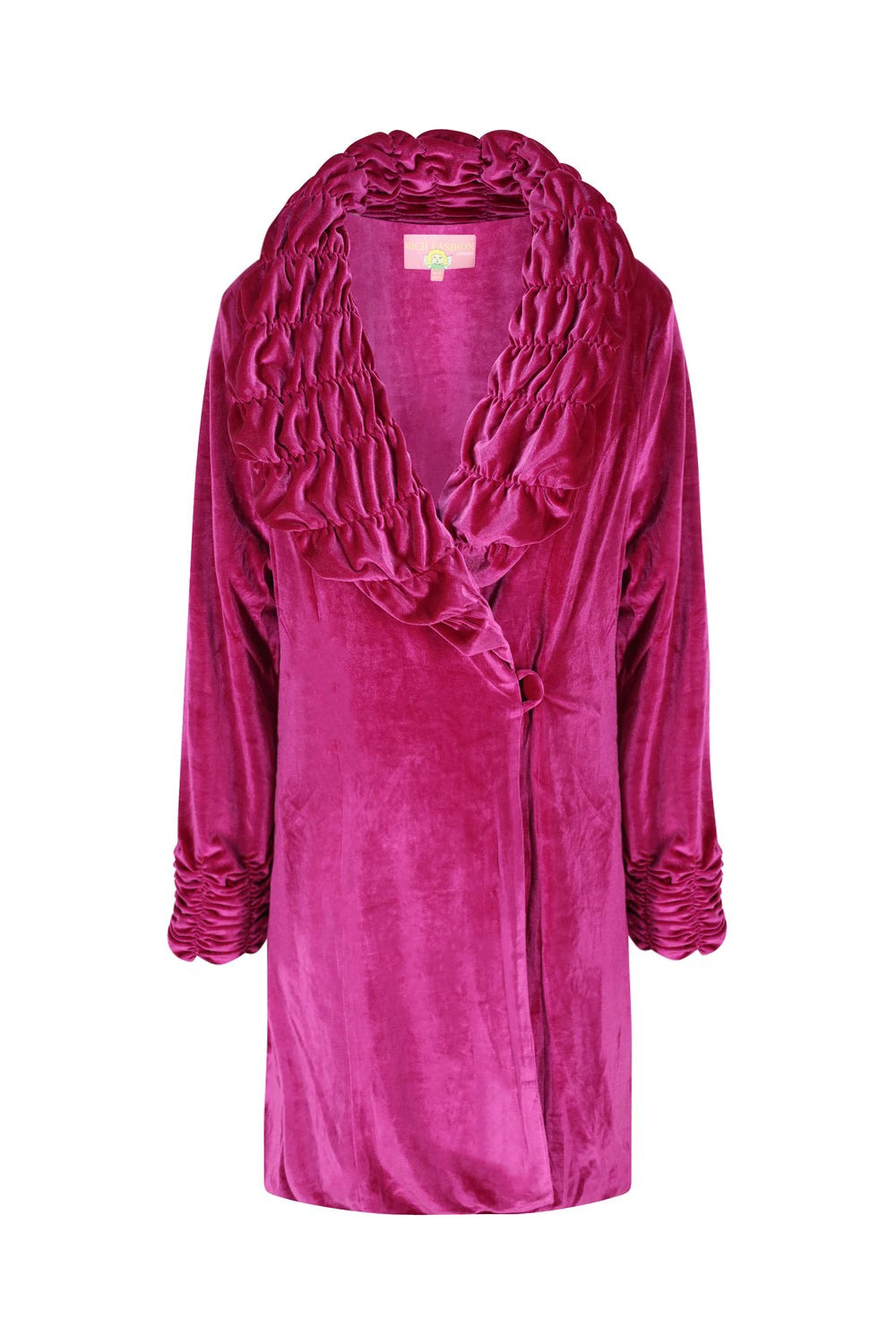 Ruched Velour Velvet Coat