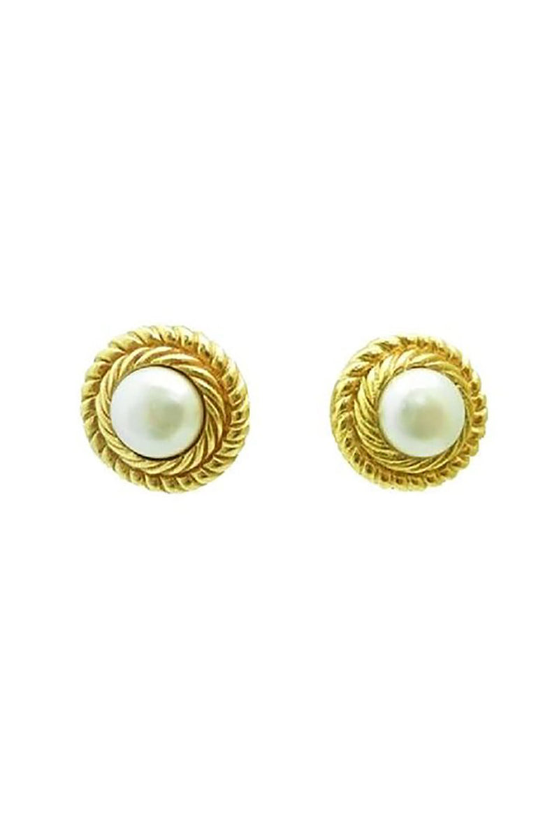 Vintage Signed Chanel Faux Pearl Earrings