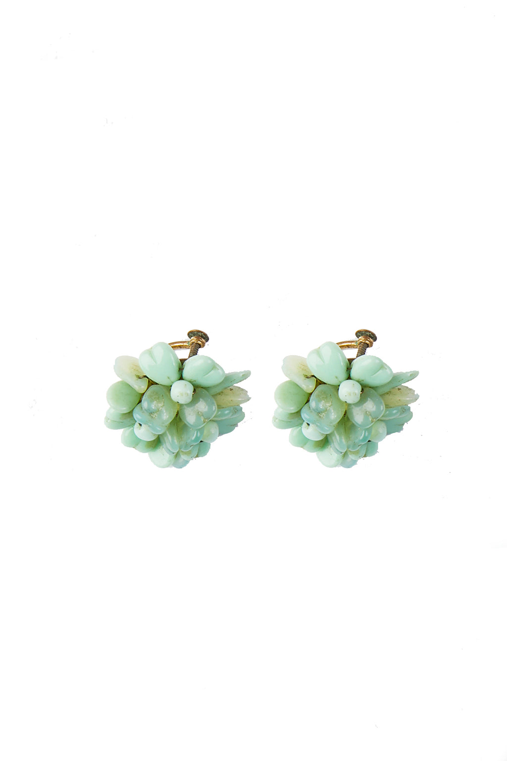 Green Beaded Vintage Earrings