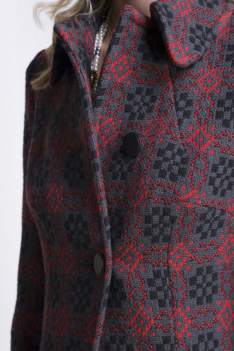 Red and Charcoal Print Vintage Coat