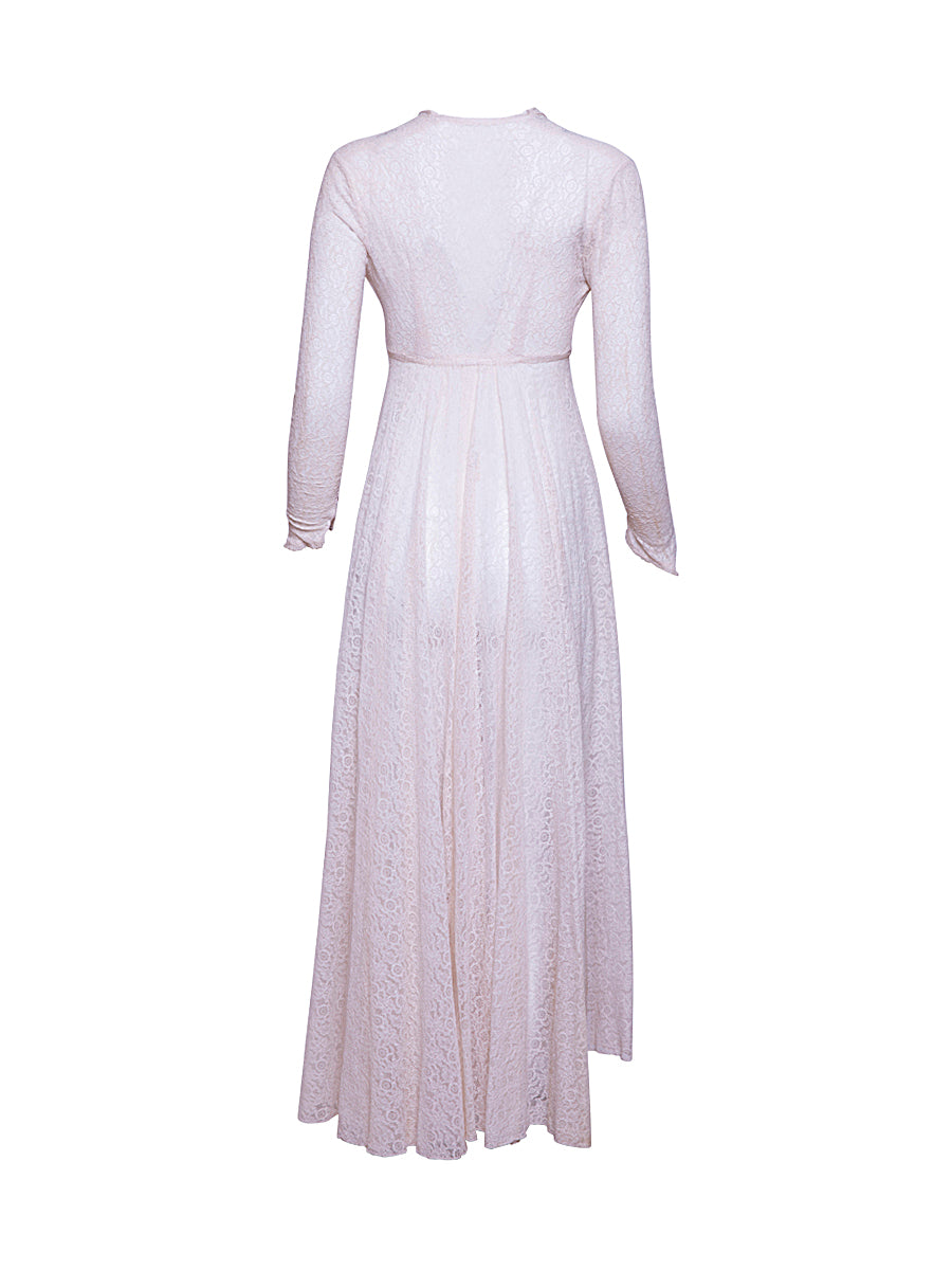 Long Sleeve Ivory Vintage Dress