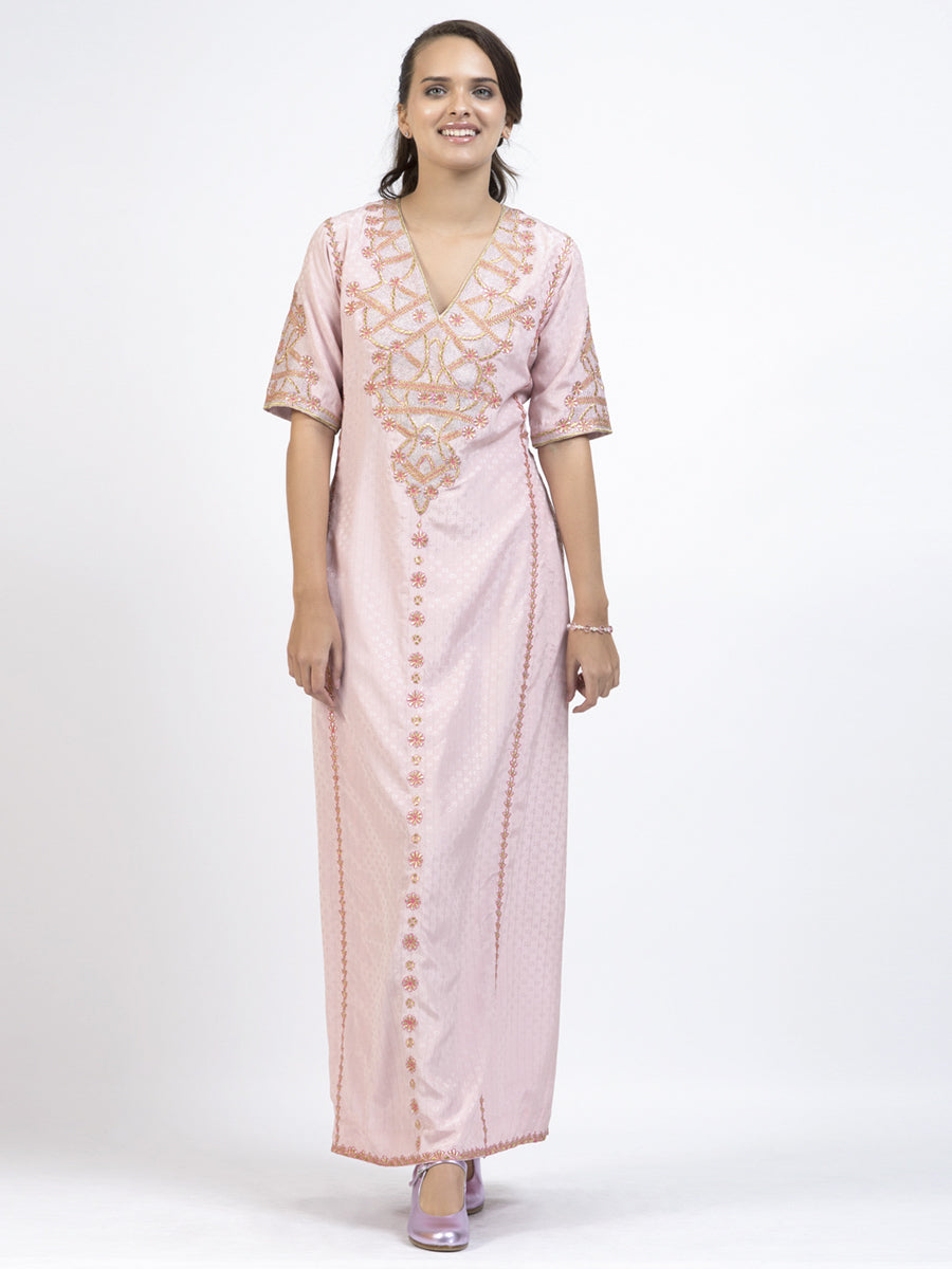 Pink Loose Fitting Vintage Maxi Dress front