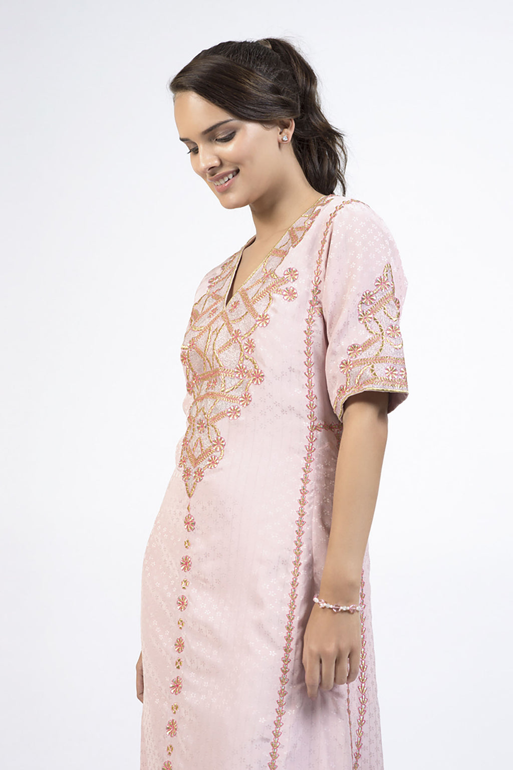 Pink Loose Fitting Vintage Maxi Dress