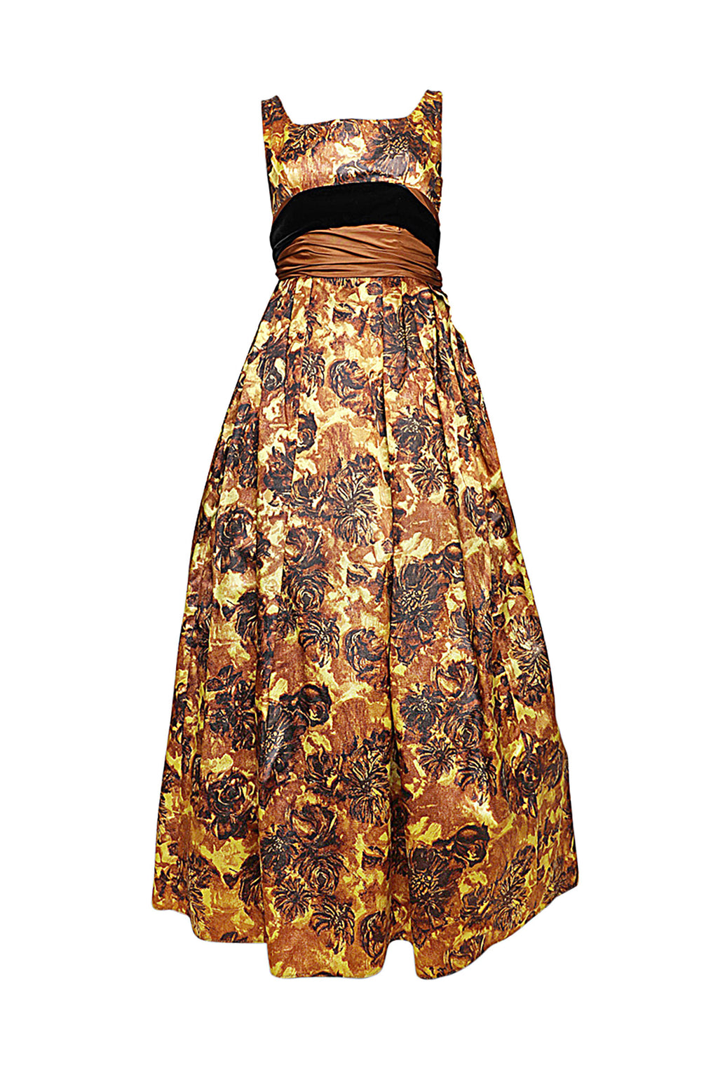 Vintage Printed Maxi Gown
