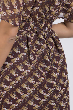 Brown Floral Print Vintage Dress