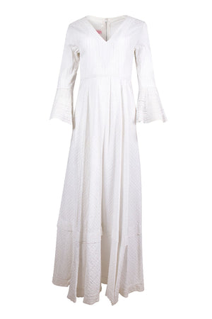 White Bell Sleeve Vintage Maxi Dress