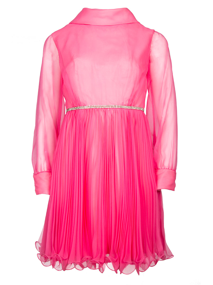 Pink High Neck Pleated Vintage Mini Dress
