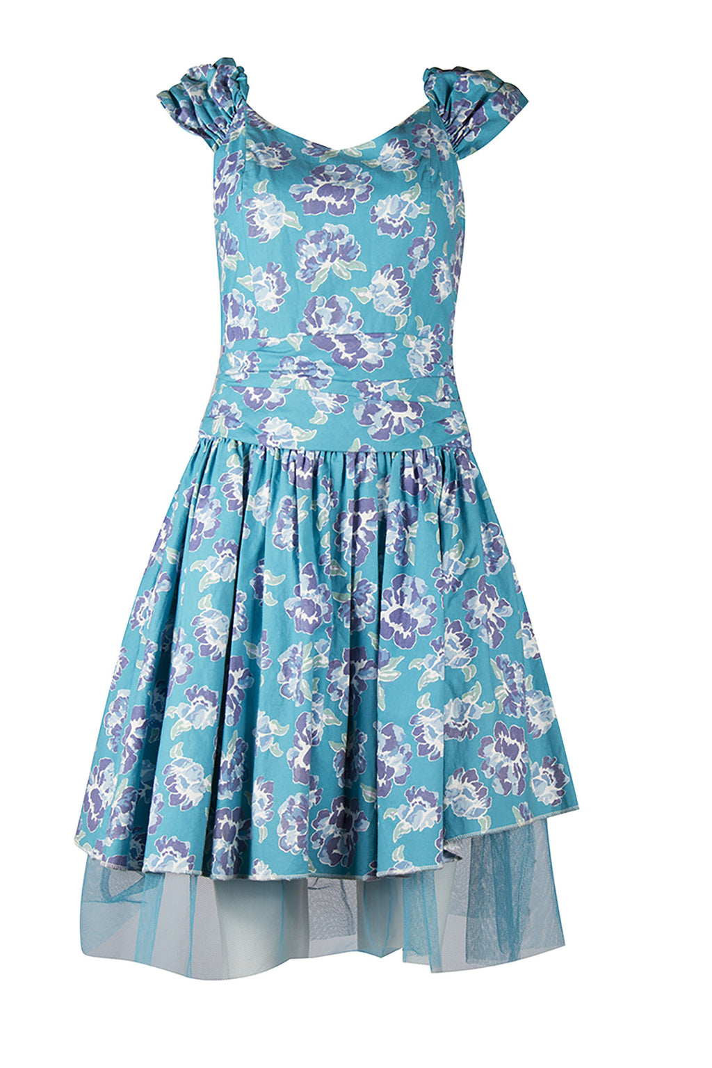 Blue Floral Midi Dress with Tulle Petticoat