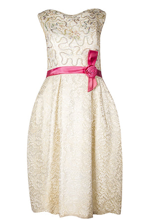 Vintage Prom Dress with Pink Bow