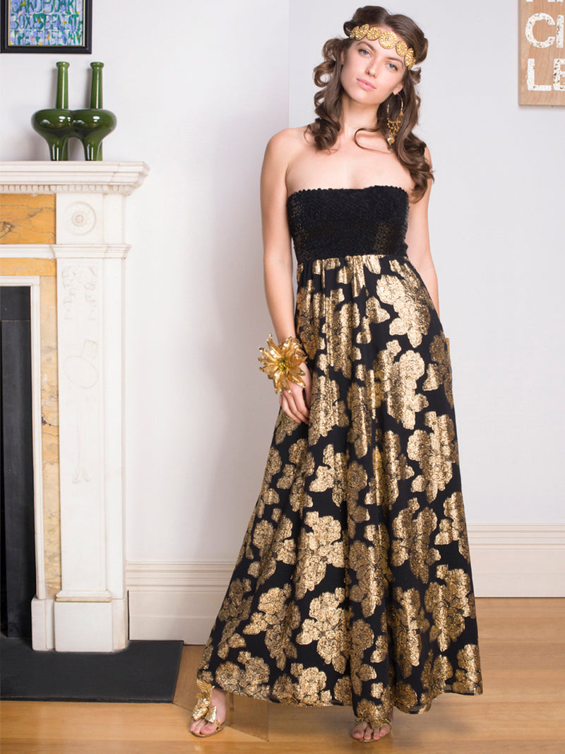 Vintage Embroidered Strapless Maxi Gown