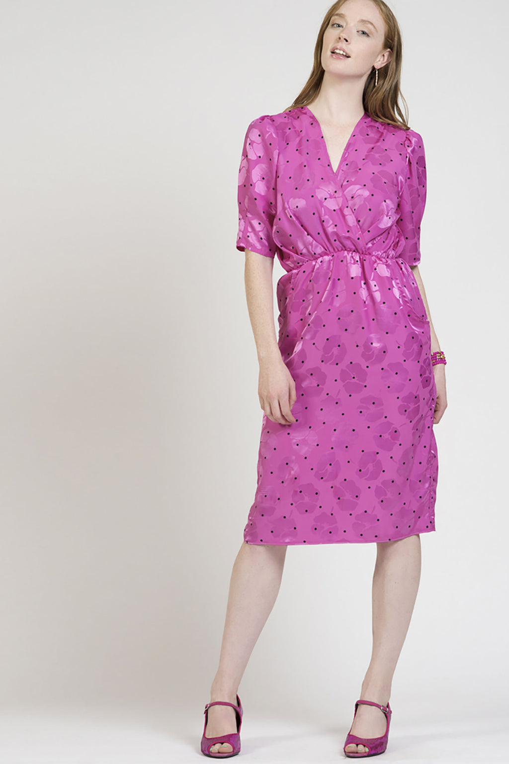 Hot Pink Vintage Wrap Dress