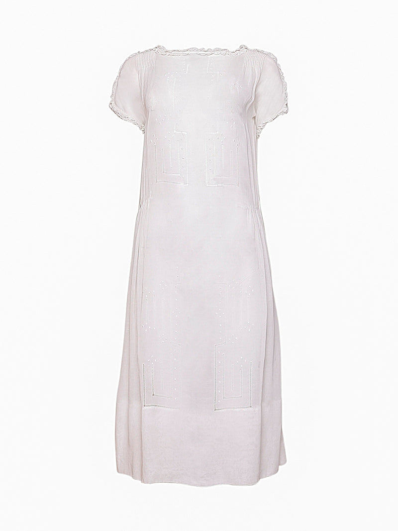 White Embroidery Stitch Pattern Vintage Dress