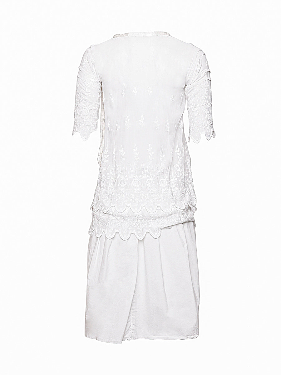 White Embroidered Vintage Dress
