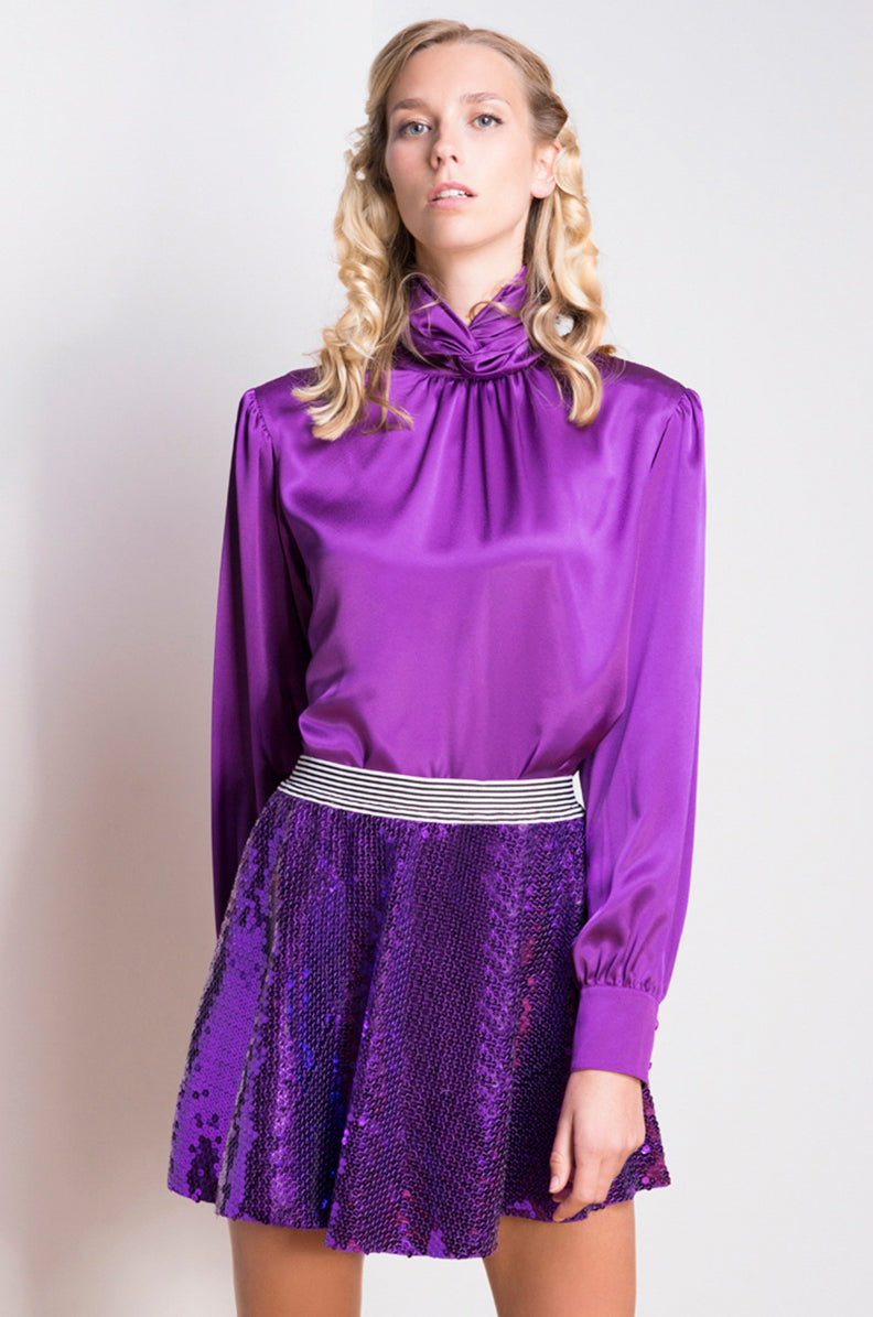 Purple Silk Vintage Blouse