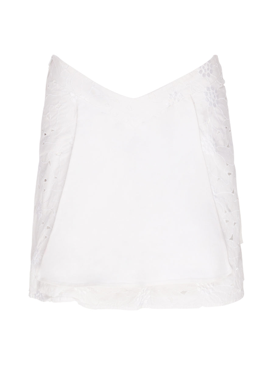 Vintage Pleated White Mini Skirt