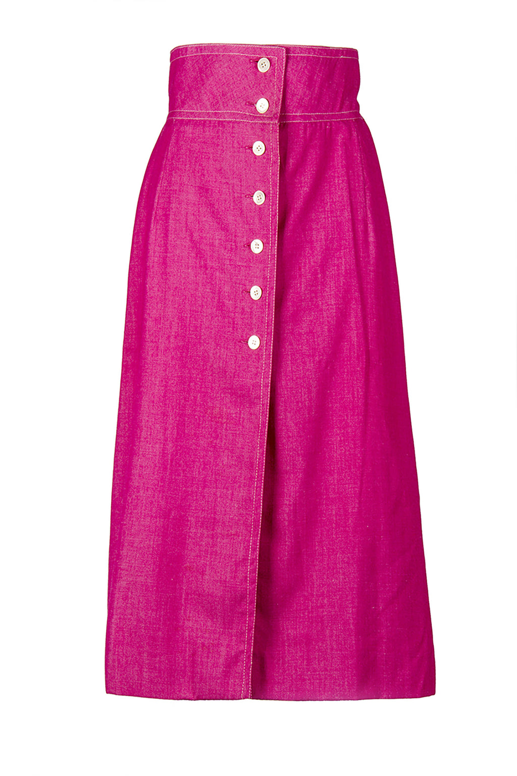 Vintage Hot Pink Button Up Skirt